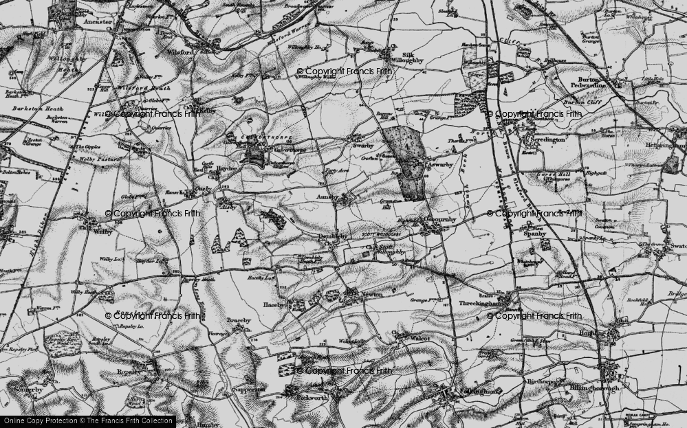 Old Map of Aunsby, 1895 in 1895