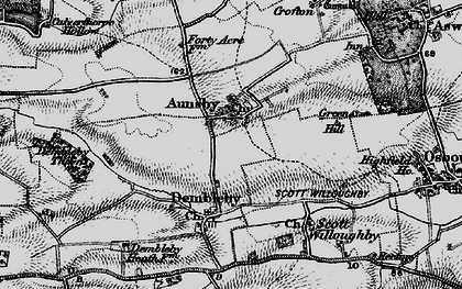 Old map of Aunsby in 1895