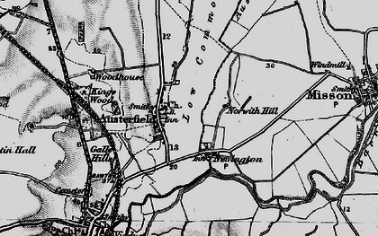 Old map of Austerfield Drain in 1895