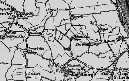Old map of Authorpe Row in 1898