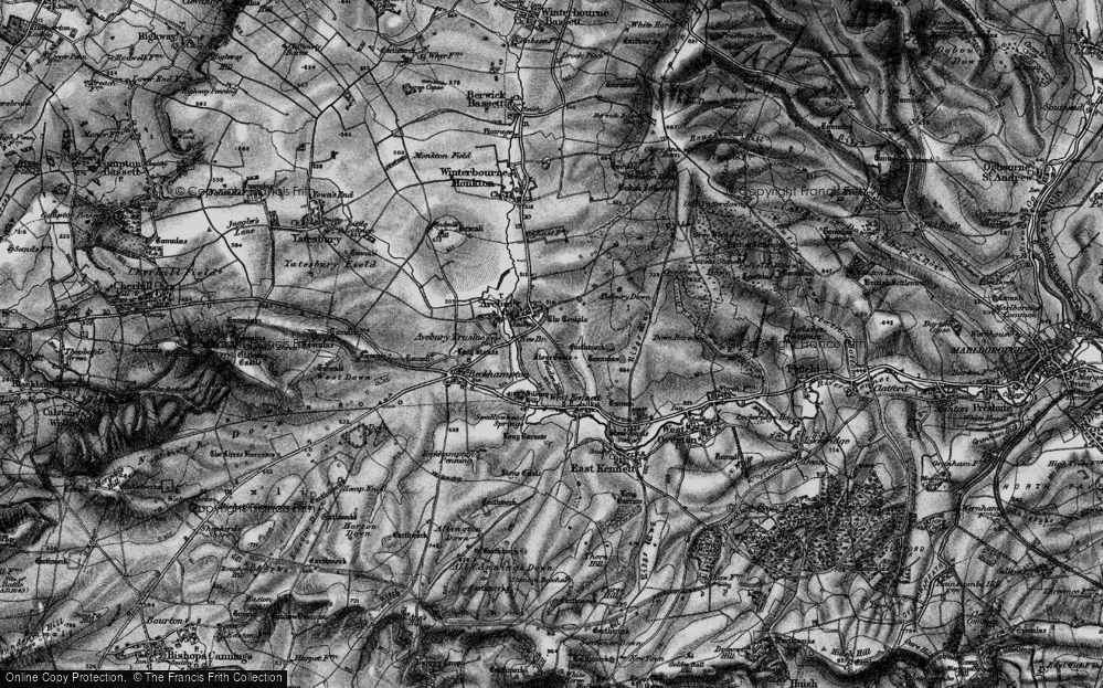 Old Map of Historic Map covering Avebury Down in 1898