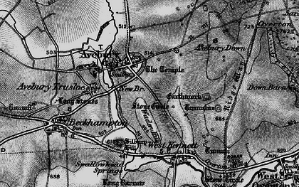 Old map of Avebury Down in 1898