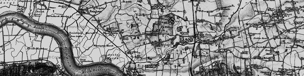 Old map of Aveley in 1896