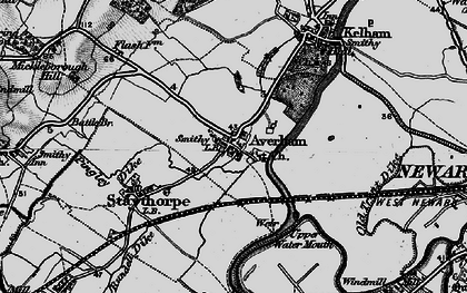 Old map of Averham in 1899