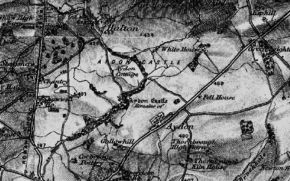 Old map of Aydon Castle in 1897