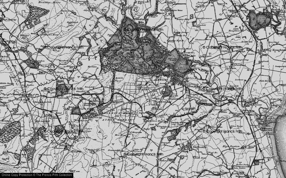 Old Map of Aydon Forest, 1897 in 1897