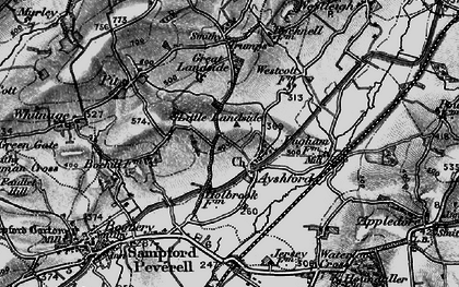 Old map of Ayshford in 1898