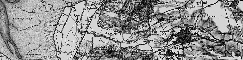 Old map of Wolferton Wood in 1893