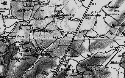 Old map of Bacon End in 1896