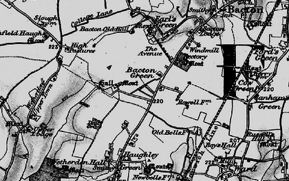 Old map of Bacton Green in 1898