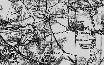Old map of Badersfield in 1898