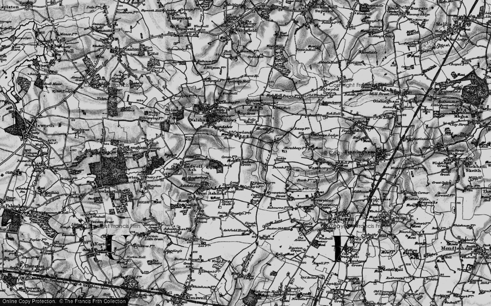 Old Map of Badwell Green, 1898 in 1898