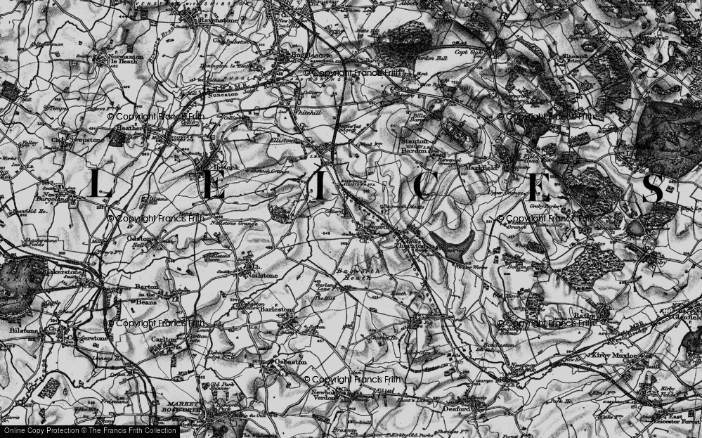 Old Map of Historic Map covering Bagworth Wood in 1895