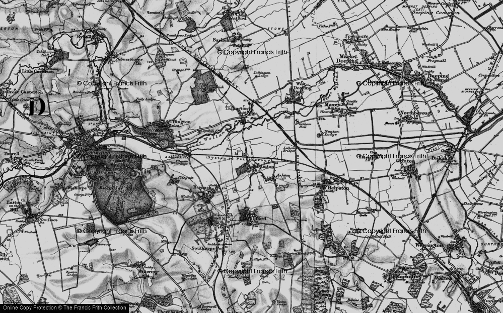 Old Map of Bainton, 1895 in 1895