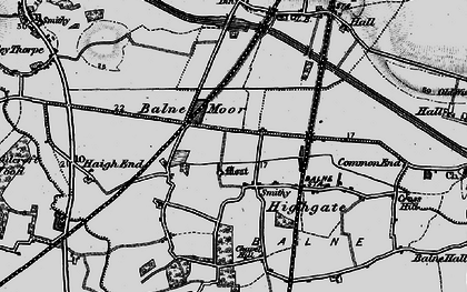 Old map of Balne Moor in 1895