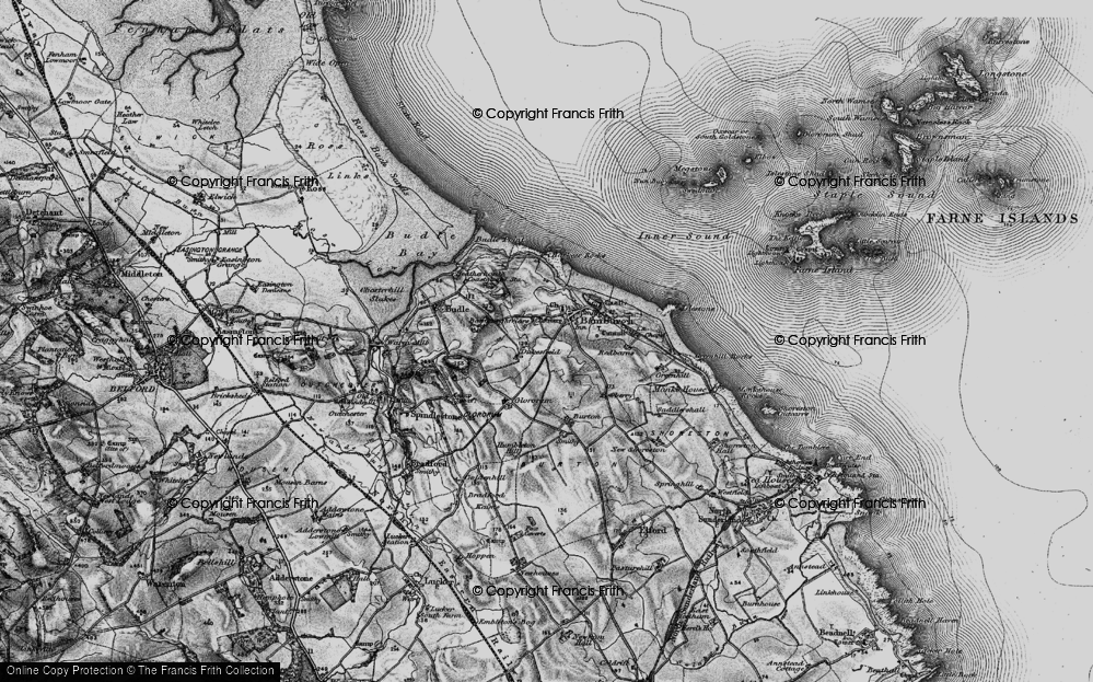 Old Map of Bamburgh, 1897 in 1897