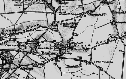 Old map of Banham in 1898