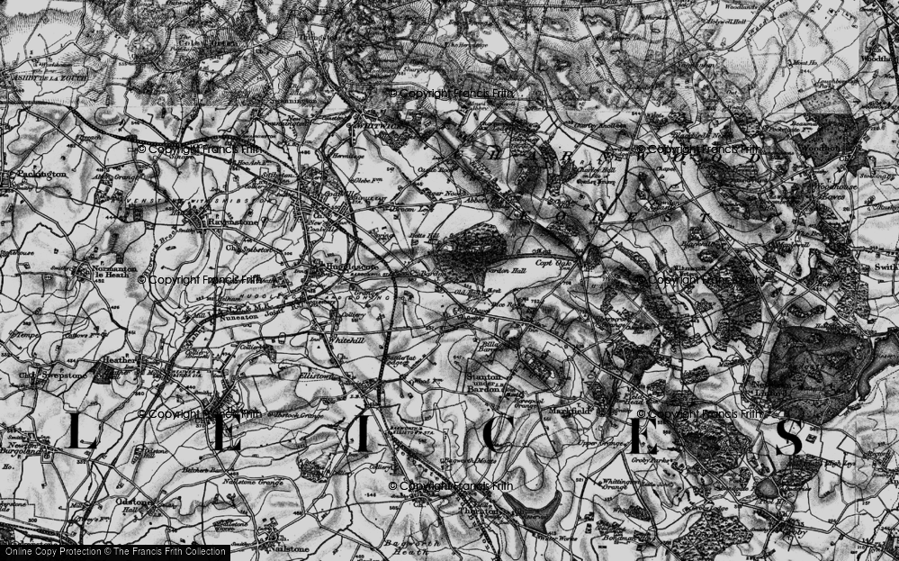 Old Map of Historic Map covering Bardon Hall in 1895