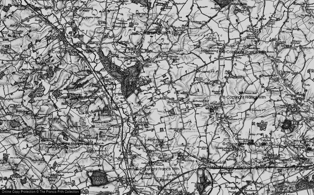 Old Map of Historic Map covering Barham Green in 1896