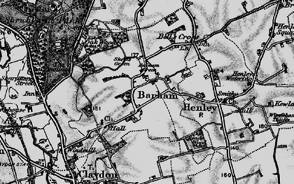 Old map of Barham Green in 1896