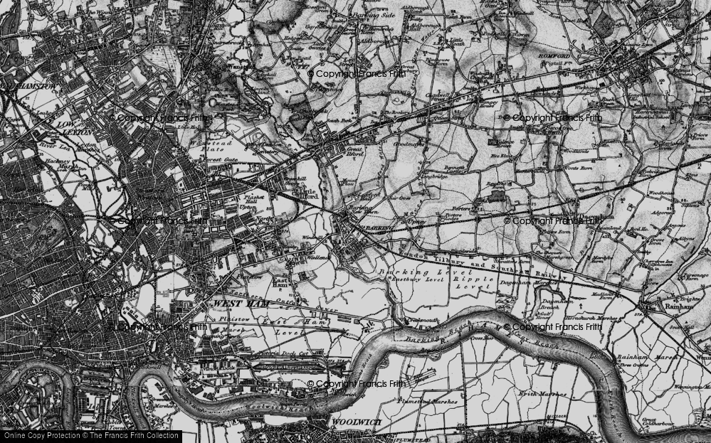 Old Map of Barking, 1896 in 1896