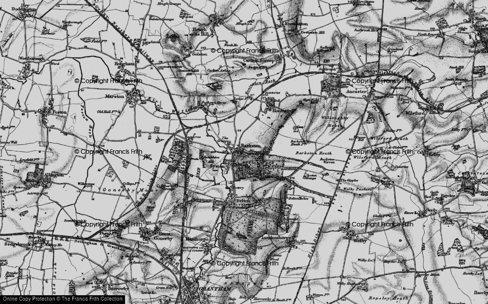 Old Map of Historic Map covering Barkston Heath in 1895