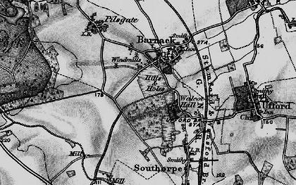 Old map of Barnack in 1898