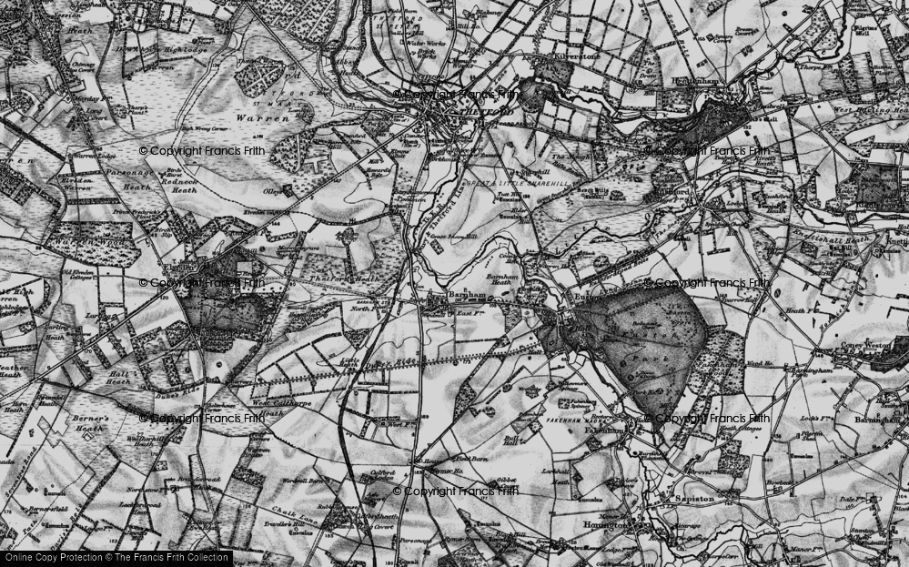 Old Map of Historic Map covering Aughton Spinney in 1898