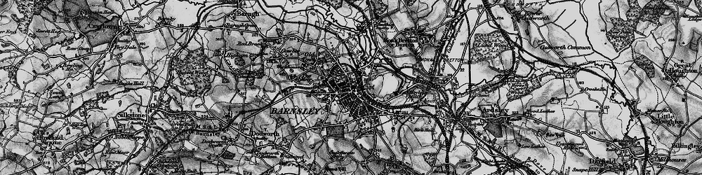 Old map of Barnsley in 1896