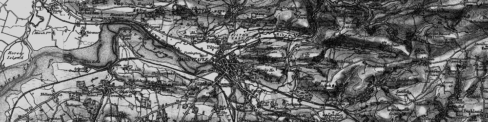 Old map of Barnstaple in 1898
