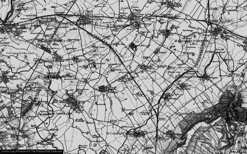 Old Map of Historic Map covering Whatton Fields in 1899