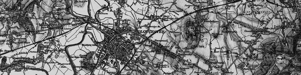 Old map of Barnwood in 1896