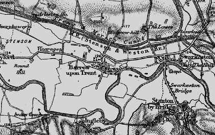 Old map of Barrow upon Trent in 1895