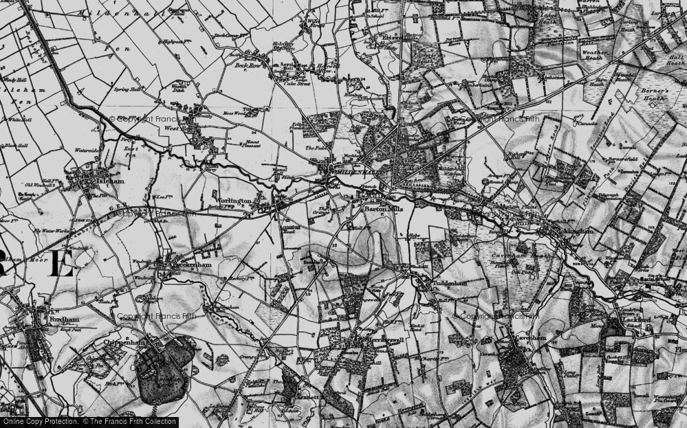 Old Map of Barton Mills, 1898 in 1898