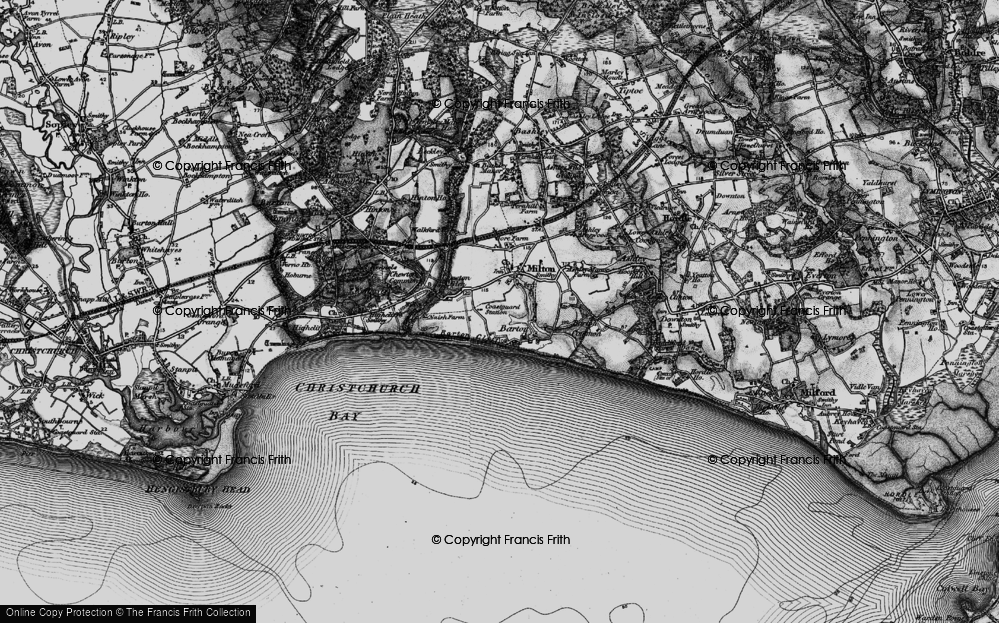 Old Map of Barton on Sea, 1895 in 1895