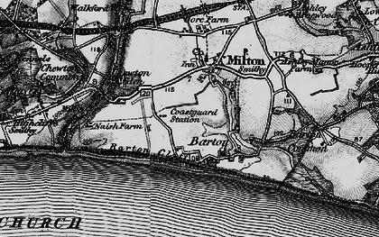 Old map of Barton on Sea in 1895