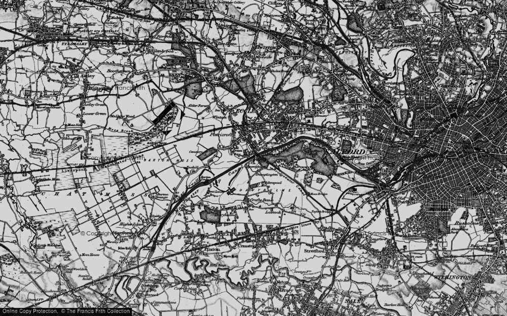 Old Map of Barton Upon Irwell, 1896 in 1896