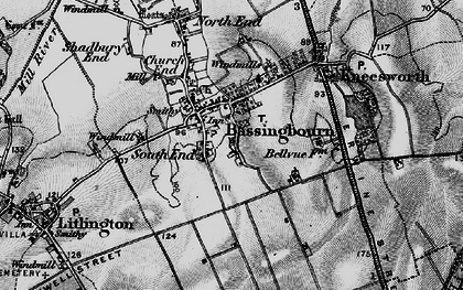 Old map of Bassingbourn in 1896