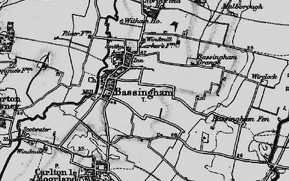 Old map of Bassingham in 1899
