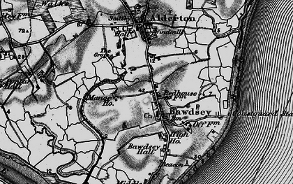Old map of Bawdsey in 1895