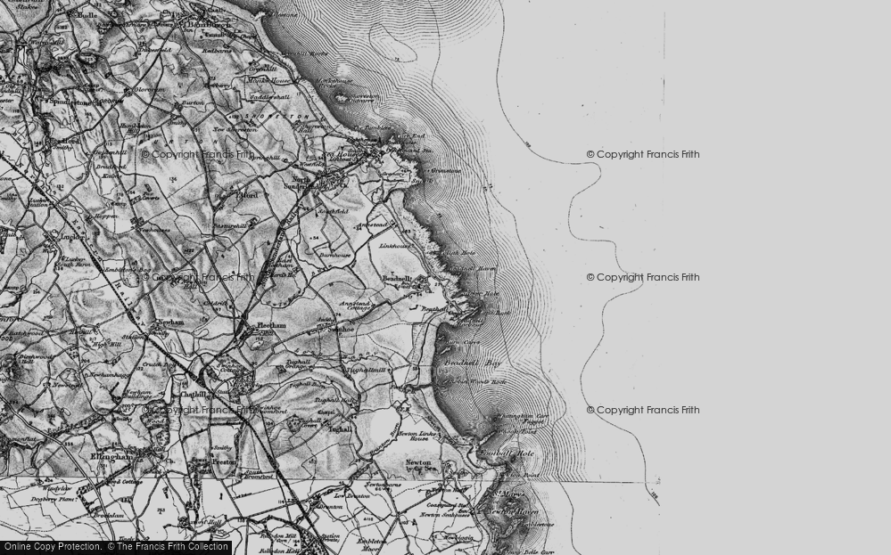 Old Map of Beadnell, 1897 in 1897