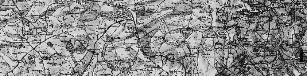 Old map of Whiddon Moor in 1895
