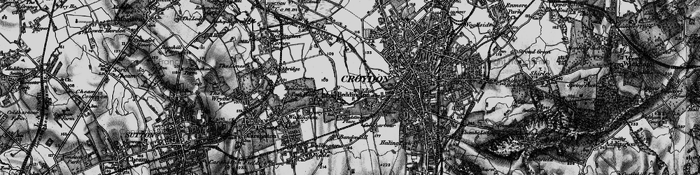 Old map of Beddington in 1895
