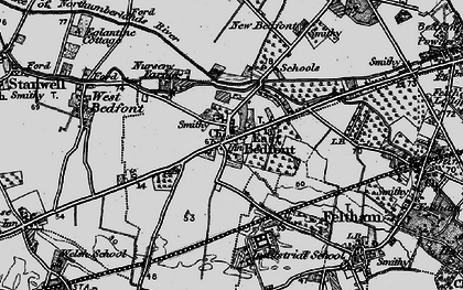 Old map of Bedfont in 1896
