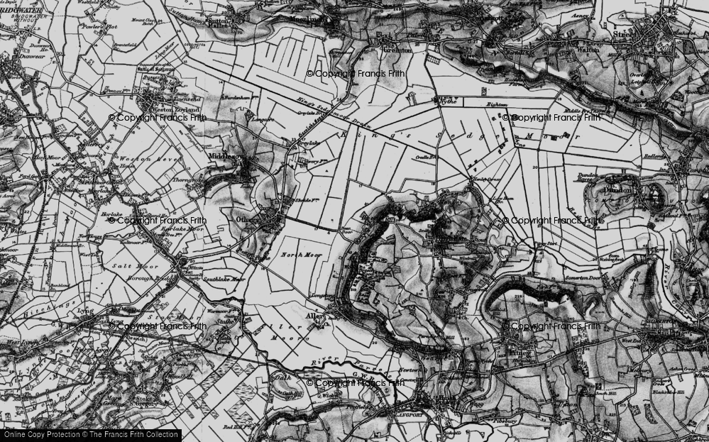 Old Map of Historic Map covering Langacre Rhyne in 1898