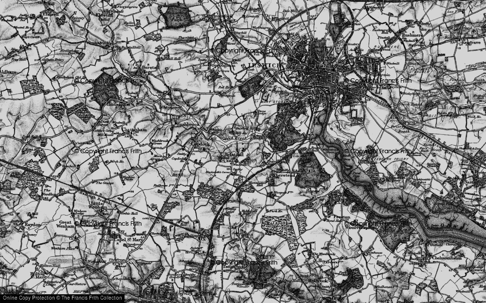 Old Map of Belstead, 1896 in 1896