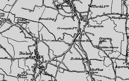 Old map of Bicker Bar in 1898