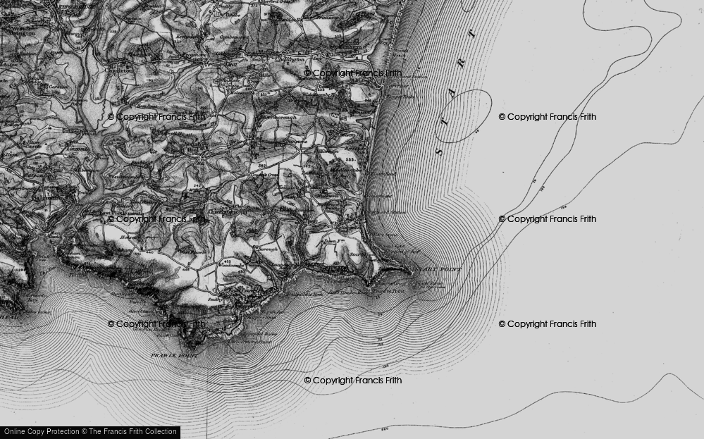 Old Map of Historic Map covering Lannacombe Beach in 1897