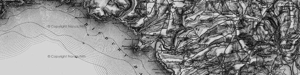 Old map of Bigbury-on-Sea in 1897