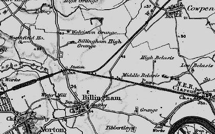 Old map of Billingham in 1898